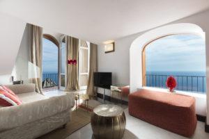 Quarto com vista para o mar no hotel 5 estrelas Punta Tragara