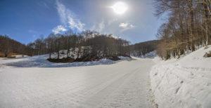 Pista de ski em Monte Livata, um dos lugares para ver nevem na Itália