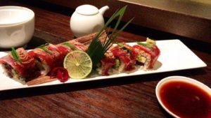 Prato de sushi do Nobu, restaurante em Milão